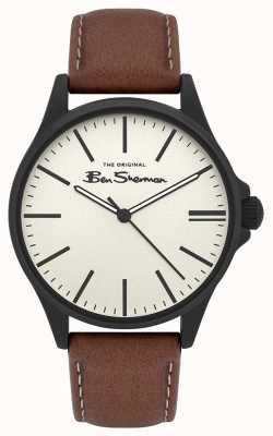 Ben Sherman | cinturino in pelle marrone chiaro da uomo | quadrante beige BS033T