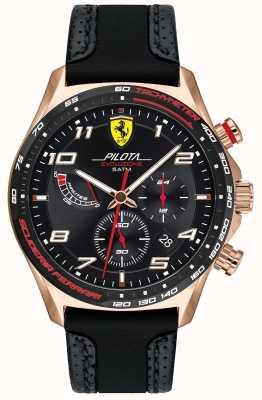 Scuderia Ferrari | pilota maschile | cinturino in pelle nera / silicone | quadrante nero 0830719