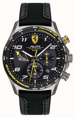 Scuderia Ferrari | pilota maschile | cinturino in silicone nero / pelle | quadrante nero 0830718