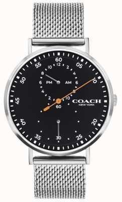 Coach | charles uomo | bracciale a maglie d'acciaio | quadrante nero 14602477