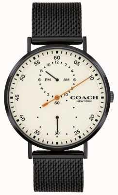 Coach | charles uomo | bracciale a maglie nere | quadrante bianco 14602480