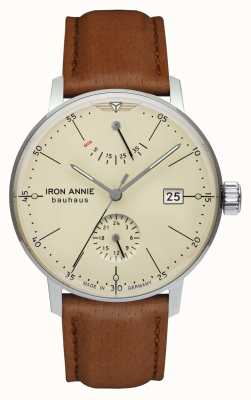 Iron Annie Bauhaus | automatico | cinturino in pelle marrone chiaro | quadrante beige 5060-5