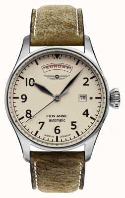 Iron Annie Controllo del volo automatico | cinturino in pelle marrone | quadrante beige 5164-3