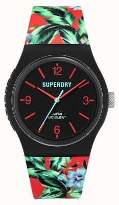 Superdry Urbano | cinturino in gomma floreale multicolore | quadrante nero SYG298BN