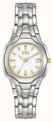 Citizen Womens due toni con quadrante bianco eco-drive EW1254-53A