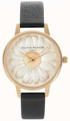 Olivia Burton Margherita 3d | cinturino in pelle nera da donna | quadrante margherita OB15EG38