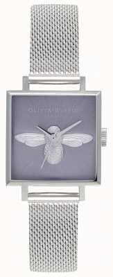 Olivia Burton Ape 3d | braccialetto da donna in maglia d'argento | quadrante ape argento OB16AM136