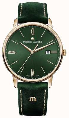 Maurice Lacroix Cinturino Elrios in pelle verde affumicato con cassa placcata in oro EL1118-PVP01-610-1