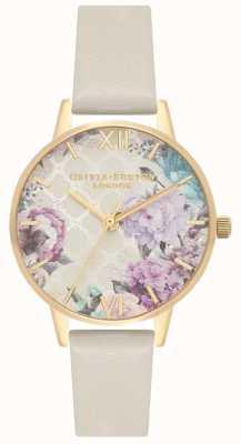 Olivia Burton | serra | cinturino in pelle lilla da donna | quadrante floreale OB16EG99