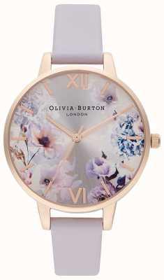 Olivia Burton Floreale alla luce del sole | cinturino in pelle lilla da donna | quadrante floreale OB16EG140