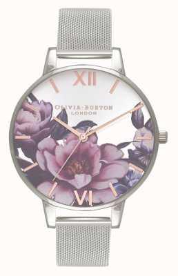 Olivia Burton Salone delle donne | quadrante grande peonia | bracciale a maglie d'argento OB16PL60