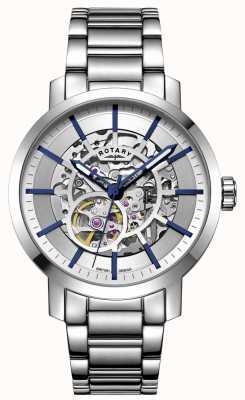 Rotary Greenwich automatico | bracciale in acciaio inossidabile quadrante argentato GB05350/06
