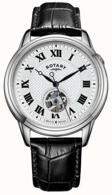 Rotary Cambridge automatico | cinturino in pelle nera | quadrante argentato GS05365/70