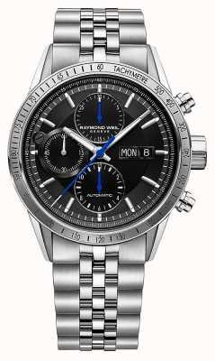 Raymond Weil Libero professionista per uomo | cronografo automatico | bracciale in acciaio | nero 7731-ST-20021