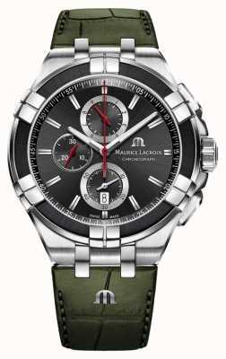 Maurice Lacroix Cronografo Aikon | cinturino in pelle verde | quadrante nero AI1018-PVB21-330-1