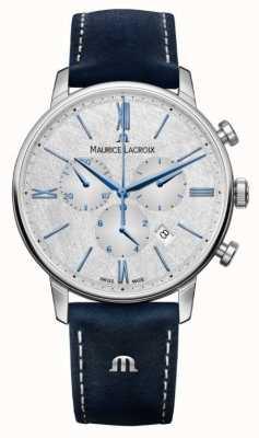 Maurice Lacroix Cronografo Eliros | cinturino in pelle blu | quadrante argentato EL1098-SS001-114-1
