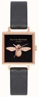 Olivia Burton Ape 3d | cinturino in pelle nera | quadrante ape quadrato nero OB16AM128