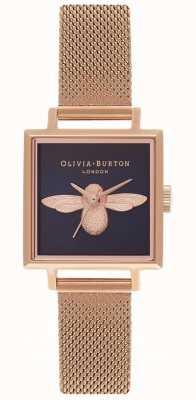 Olivia Burton Ape 3d | braccialetto a maglie in oro rosa | quadrante ape quadrata OB16AM96
