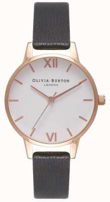 Olivia Burton Cinturino da donna in pelle nera | quadrante midi bianco OB16MDW07