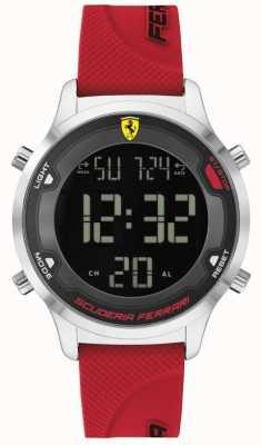 Scuderia Ferrari Digitrack maschile | cinturino in caucciù rosso | quadrante digitale nero 0830757