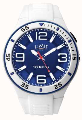 Limit Unisex | cinturino in caucciù bianco | quadrante blu 5763.65