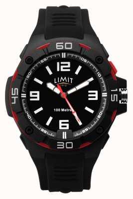 Limit | cinturino in caucciù nero da uomo | quadrante nero | castone rosso / nero 5789.65