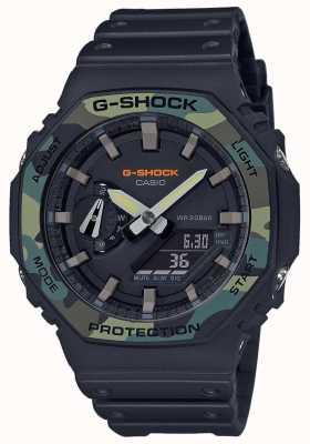 Casio G-shock | castone a strati | cinturino in caucciù nero | custodia in carbonio GA-2100SU-1AER