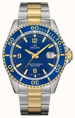 Delma Quarzo Santiago | bracciale in acciaio bicolore | lunetta blu 52701.562.6.044