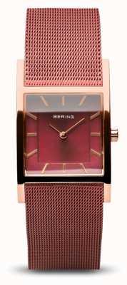 Bering Classico da donna | oro rosa lucido | bracciale a maglie rosse 10426-363-S