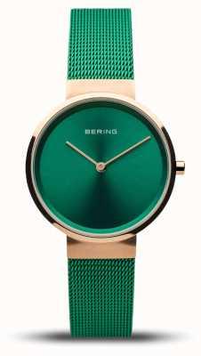 Bering Classico da donna | oro rosa lucido | cinturino in rete verde | 14531-868