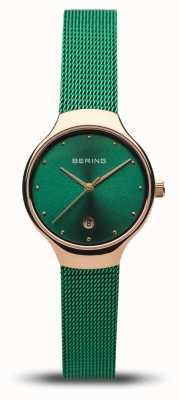 Bering Classico da donna | cinturino in rete verde | oro rosa lucido 13326-868