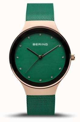 Bering Classico da donna | oro rosa lucido | cinturino in rete verde | 12934-868