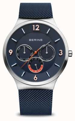 Bering Classico da uomo | argento spazzolato | cinturino in rete blu | quadrante blu 33441-307