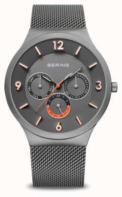 Bering Classico da uomo | grigio spazzolato | cinturino in rete grigia | 33441-377