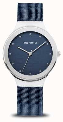 Bering Classico da donna | argento lucido | cinturino in rete blu 12934-307