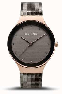 Bering Classico da donna | oro rosa lucido | cinturino in rete grigia 12934-369