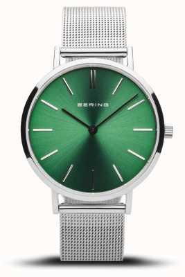 Bering Classico da donna | argento lucido | maglia d'argento | quadrante verde 14134-008
