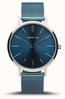 Bering Classico da donna | argento lucido | bracciale a maglie blu 14134-308