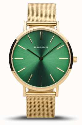 Bering Classico da donna | oro lucido | quadrante verde | maglia d'oro 14134-338