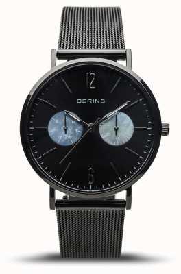 Bering Classico da donna | nero lucido | cinturino in rete nera 14236-123