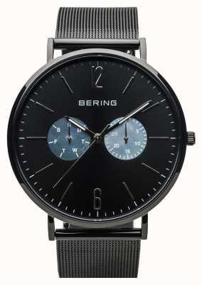 Bering Classico unisex | nero lucido | cinturino in rete nera 14240-123