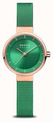 Bering Carità femminile | rosa levigata / spazzolata | cinturino in rete verde 14627-CHARITY