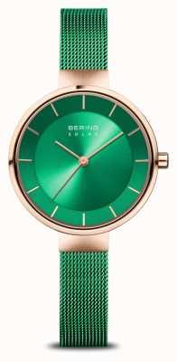 Bering Carità femminile | oro rosa lucido / spazzolato | maglia verde 14631-CHARITY