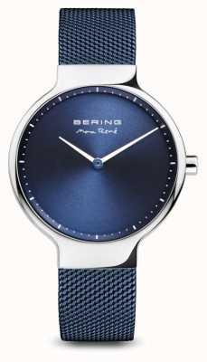 Bering Max rené | argento lucido | cinturino in rete blu 15531-307