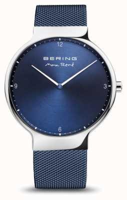 Bering Max rené | argento lucido | cinturino in rete blu 15540-307