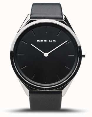 Bering Ultrasottile | argento lucido | cinturino in pelle nera 17039-402