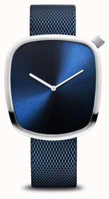 Bering Classic | ghiaia | blu spazzolato | quadrante quadrato | maglia blu 18040-307