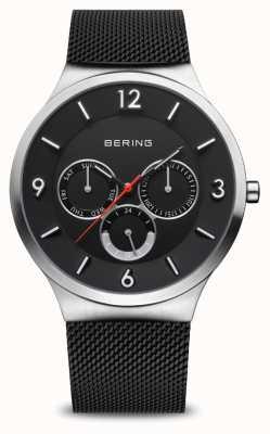 Bering Classico da uomo | argento spazzolato | bracciale a maglie nere 33441-102