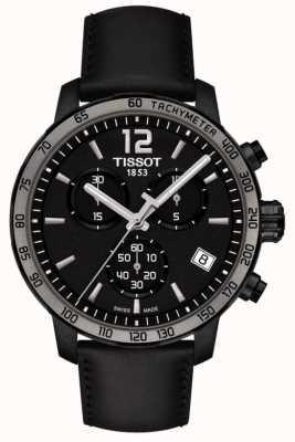 Tissot Quickster cronografo al quarzo in pelle nera quadrante nero T0954173605702