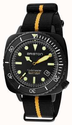 Briston Clubmaster diver pro | cinturino nato nero / giallo | quadrante nero 20644.PBAM.B.34.NBY